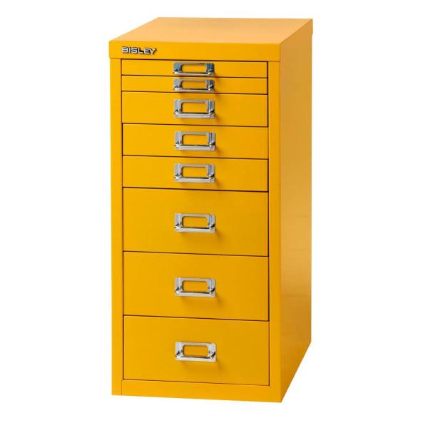 Bisley Schubladenschrank gelb mit 8 Schubladen